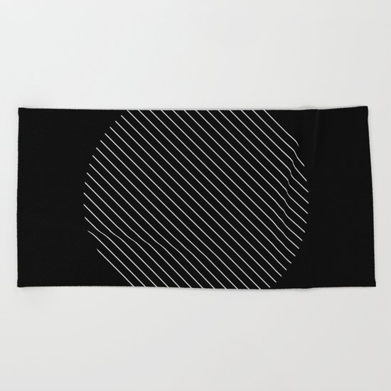 Tilt - Black and White Minimalism Abstract Beach Towel