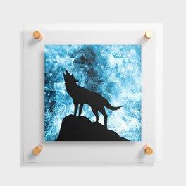 Howling Winter Wolf snowy blue smoke Floating Acrylic Print