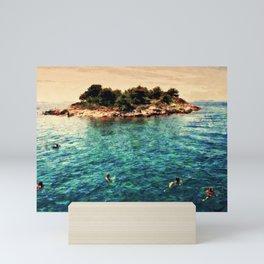 Summer holiday, swimming around a small island Mini Art Print