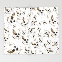 Chihuahua watercolor pattern Throw Blanket