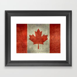 The National Flag of Canada, Vintage texture 3:5 scale version Framed Art Print