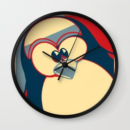 Linux tux penguin Obama poster Wall Clock