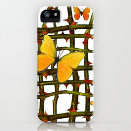 GOLDEN BUTTERFLIES THORN BRANCHES TRELLIS  PATTERN iPhone Case