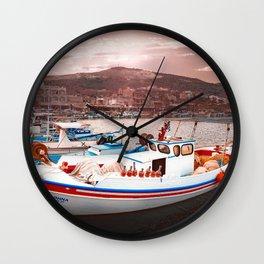 Harbor at evening Wall Clock