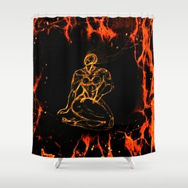 Breathing in Red Fire Shower Curtain