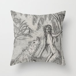Nude and wolf Throw Pillow