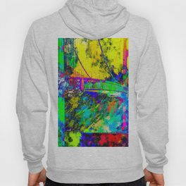 Golden Gate bridge, San Francisco, USA with colorful painting abstract background Hoody