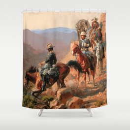 """Frederick Remington Western Art """"With the 10th Cavalry"""" Shower Curtain"""