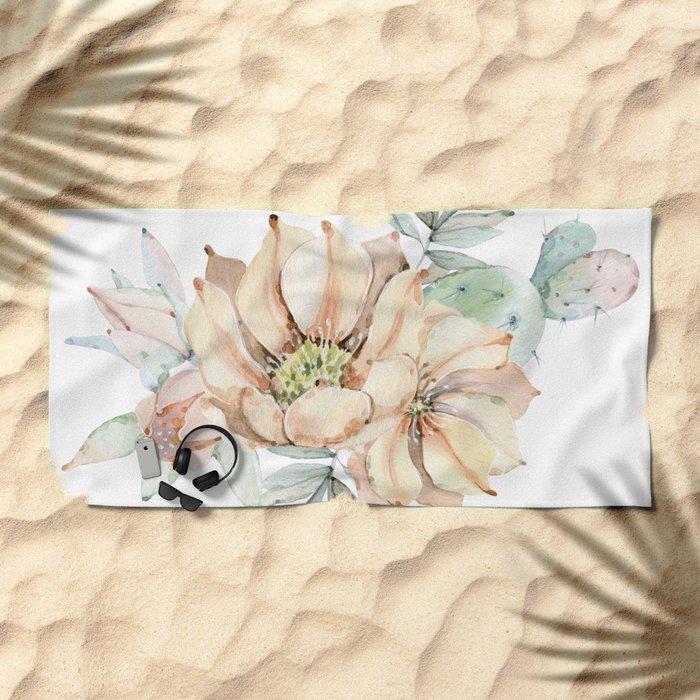 Coral Desert Roses Beach Towel