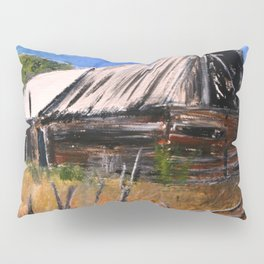 Old Barn New Mexico Desert Contemporary Acrylic Painting Pillow Sham