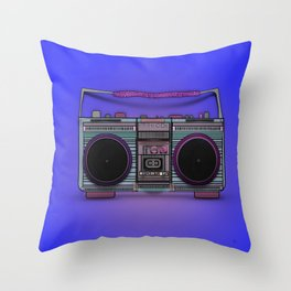 colorful boombox Throw Pillow