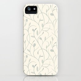Clear floral blue on beige seamless pattern iPhone Case
