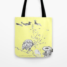 Two Tailed Duck and Jellyfish Baby Yellow Tote Bag