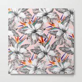 Monochrome tropic floral Metal Print
