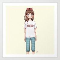 nerd Art Prints featuring Nerd by Suni
