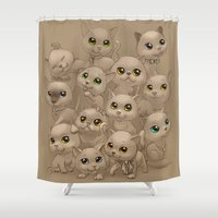 kittens Shower Curtains featuring Kittens by Antracit
