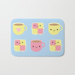 Kawaii Battenberg Cake & Cup of Tea Bath Mat