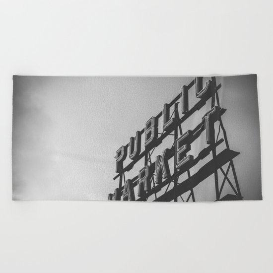 Seattle Pike Place Public Market Black and White Beach Towel