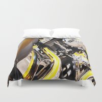 motorcycle Duvet Covers featuring Motorcycle by Carlo Toffolo
