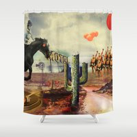 boxing Shower Curtains featuring Boxing Horse in texas  by HURLUdesign