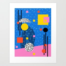 Crank - 80s retro throwback minimal abstract painting memphis style trendy vibes all day Art Print