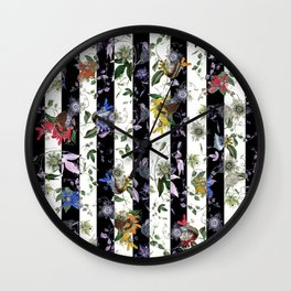 Vibrant Exotic Floral on Black and White Stripes Wall Clock