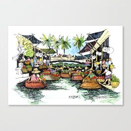 Floating Market, Rajburi, Thailand Canvas Print