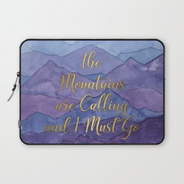 Blue Watercolor Mountains Calling Laptop Sleeve