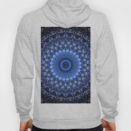 Glowing mandala in blue tones Hoody