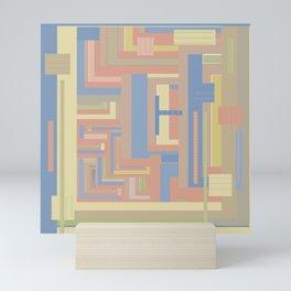 Sandscape graphic design in geometric blue terracotta beige light brown gold Mini Art Print