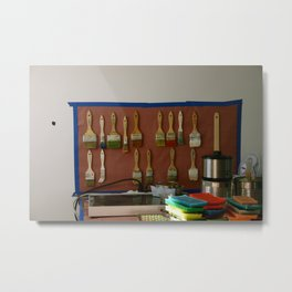 Paint Brushes and the Artist's Studio Setup Metal Print