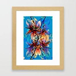 Blue Floral Poetry Framed Art Print