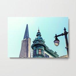 pyramid building and vintage style building at San Francisco, USA Metal Print