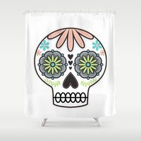 sugar skull Shower Curtains featuring Sugar Skull by Liz Urso