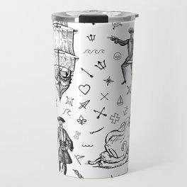 Pirate's Life Stick and Poke Illustration Travel Mug