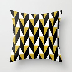Mustard & black triangle mid-century pattern Throw Pillow