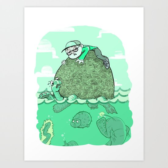 the boy and his tortoise Art Print