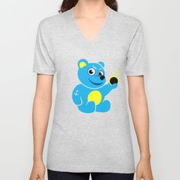 Evil Tattooed Teddy Bear Unisex V-Neck