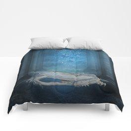 Awesome sleeping ice dragon Comforters