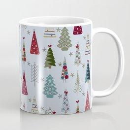 Scandinavian Christmas Trees Pattern - Blue Red Green Coffee Mug