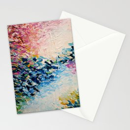PARADISE DREAMING Colorful Pastel Abstract Art Painting Textural Pink Blue Tropical Brushstrokes Stationery Cards