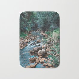Flowing Botanical Garden Creek Portrait Bath Mat