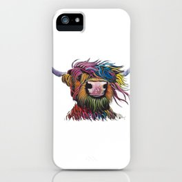 Scottish Highland Cow ' ROCK A BILLY ' by Shirley MacArthur iPhone Case