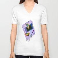 gameboy V-neck T-shirts featuring Gameboy Melt by KING BOZU