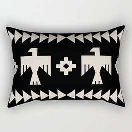 Southwestern Eagle and Arrow Pattern 121 Black and Linen White Rectangular Pillow
