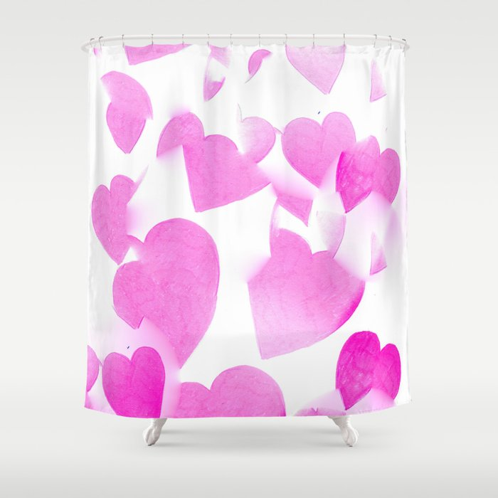 Blended Pink Hearts Shower Curtain