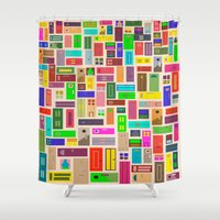 doors Shower Curtains featuring Doors - White by Finlay McNevin