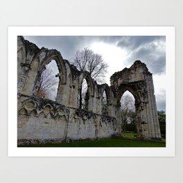 York History: St. Mary's Abbey Ruins Art Print