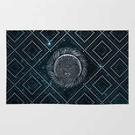 Leo Zodiac Silver Embossed on the Star sky Rug