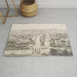 Vintage Pictorial Map of Rochester NY (1854) Rug